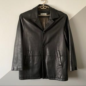 Joseph Abboud XL Thick Leather Car Coat Soft Black